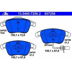 Jeu de 4 plaquettes de frein avant pour Audi A4 / A5 / Q5 Ref ATE 607256