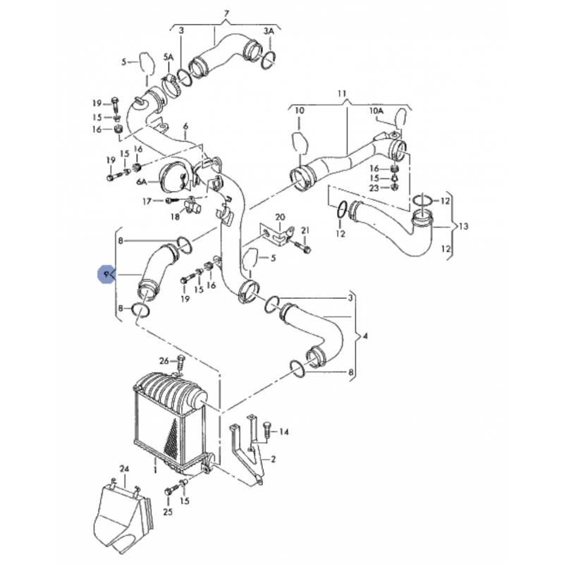 durite  flexible de pression ref 1j0145834aa pour vw 1l9
