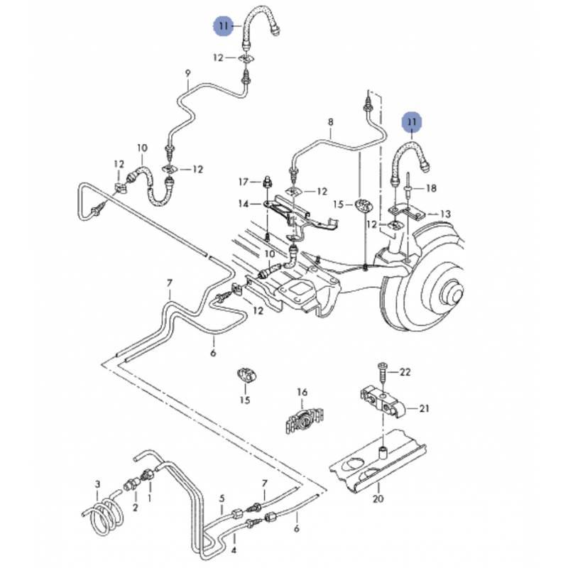 durite  flexible de frein pour audi a4 ref 8d0611775j