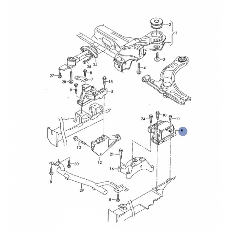 support  palier  appui de boite ref 8n0199555c