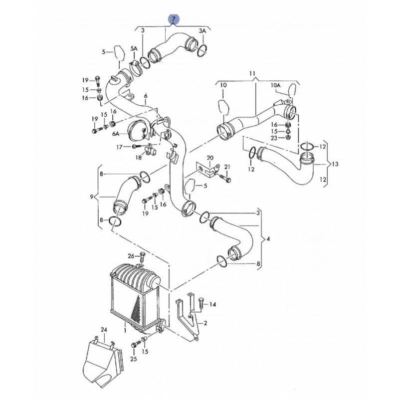 durite  flexible de pression de vanne egr pour 1l9 tdi 150 cv ref 1j0145838q  1j0145838r