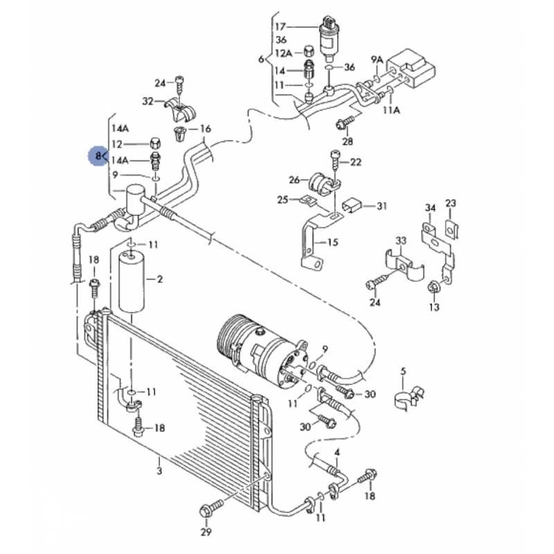 tuyau de climatisation  flexible de r u00e9frig u00e9rant pour 1l9 tdi 150 cv ref 1j1820743p  1j1820743ar