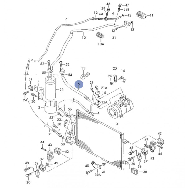 tuyau de climatisation flexible de r frig rant pour audi a4 vw passat ref 8d0260701k. Black Bedroom Furniture Sets. Home Design Ideas