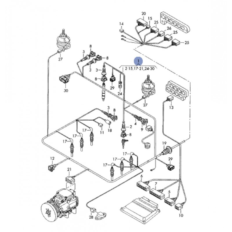 faisceau    c u00e2blage de compartiment moteur pour audi a6 2l5 v6 tdi afb 150 cv boite automatique