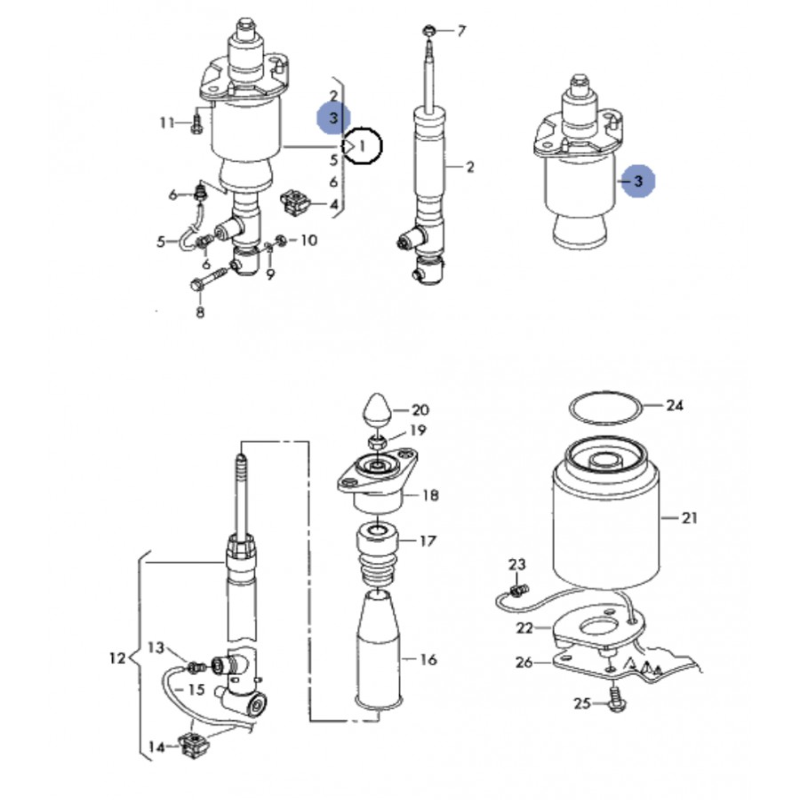 2 amortisseurs arri u00e8res hydraulique  u00e0 gaz pour audi a6 allroad ref 4z7513031a  4z7513032a