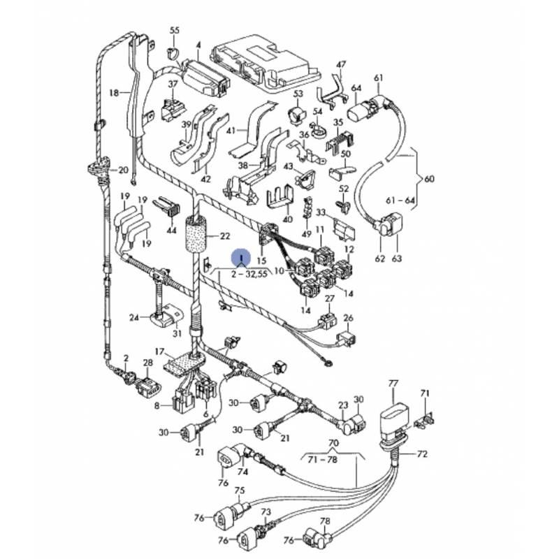 faisceau  c u00e2blage pour compartiment moteur pour audi a3  vw bora  golf 4 1l9 tdi ref 1j1971089dr
