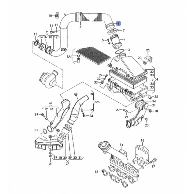 durite  tuyau de liaison pour 1l9 tdi ref 1j0129684j