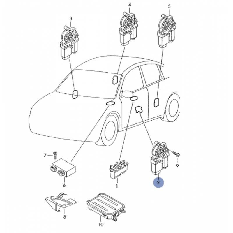 moteur de l ve vitre conducteur pour seat cordoba ibiza ref 6l2959802. Black Bedroom Furniture Sets. Home Design Ideas