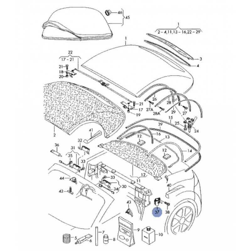 palier de fixation pour audi tt roadster cabriolet ref 8n7817187 8n7817188 capote cabriolet. Black Bedroom Furniture Sets. Home Design Ideas