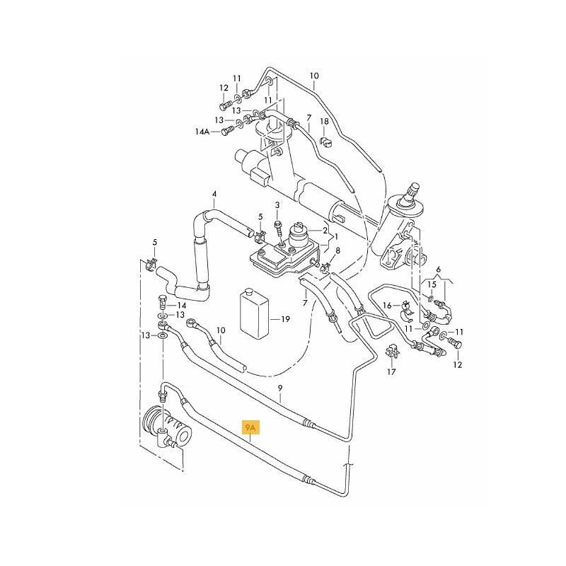 flexible d u0026 39 allonge de pompe  u00e0 ailettes vers m u00e9canisme de direction pour vw polo 1l4 essence ref