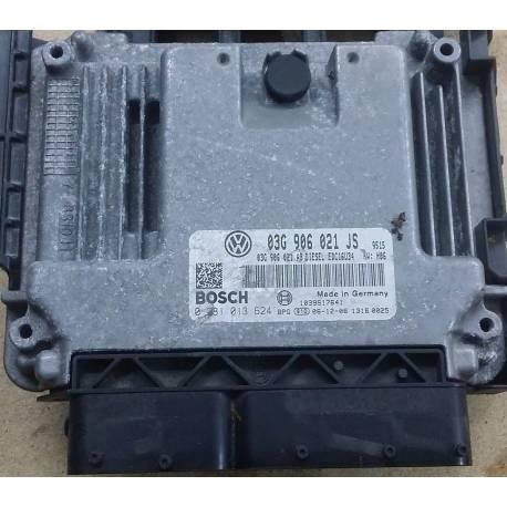 Calculateur moteur pour Seat Leon 1L9 TDI 105 cv BLS ref 03G906021JS / Ref Bosch 0281013624