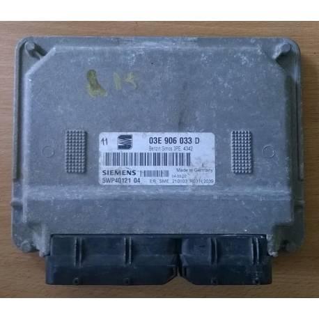 Calculateur moteur pour Seat Ibiza 1L2 essence moteur AZQ ref 03E906033D ref siemens  5WP40121 04