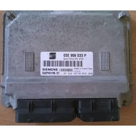 Calculateur moteur pour Seat Ibiza / Cordoba 1L2 essence moteur AZQ ref 03E906033P Ref Siemens 5WP40196 07