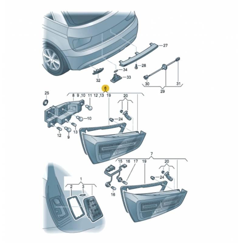 feu arri re conducteur sur la malle pour audi a1 ref 8x0945093 8x0945093d. Black Bedroom Furniture Sets. Home Design Ideas