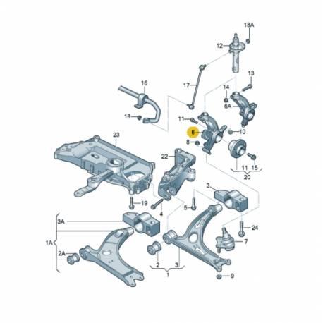 Fusée cache roulement avant conducteur pour Audi / Seat / VW / Skoda ref 1K0407255N / 1K0407255AA + Moyeu roulement 1T0498621