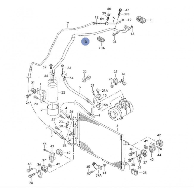 tuyau de climatisation  flexible de r u00e9frig u00e9rant pour vw