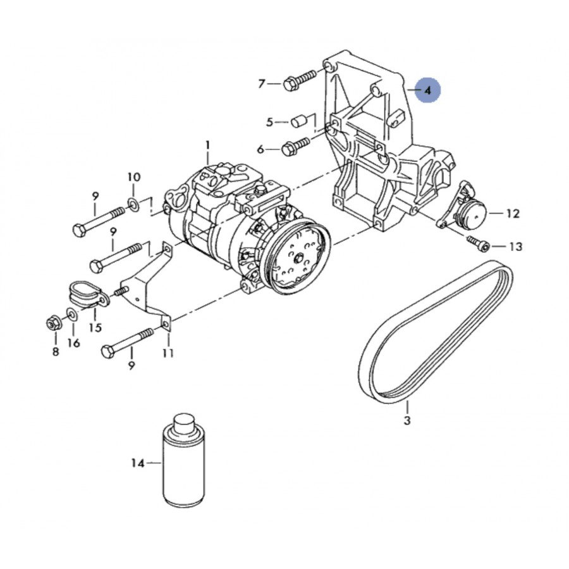 support compact pour compresseur de clim ref 038260885b