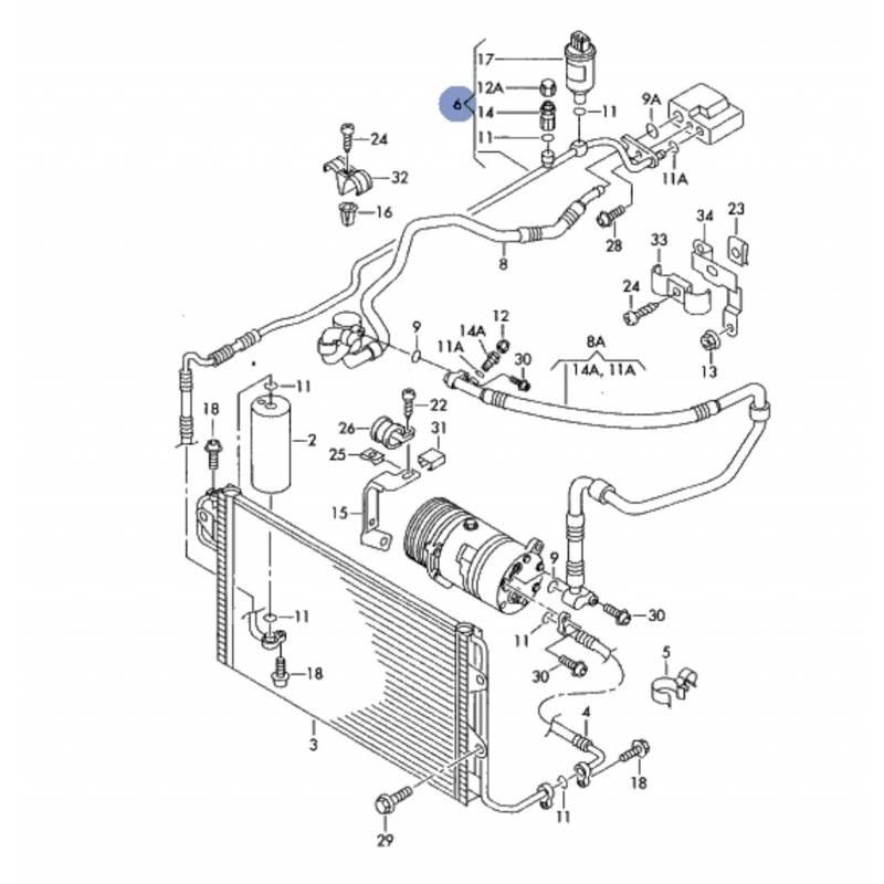 tuyau de climatisation  flexible de r u00e9frig u00e9rant pour vw new beetle ref 1c1820741