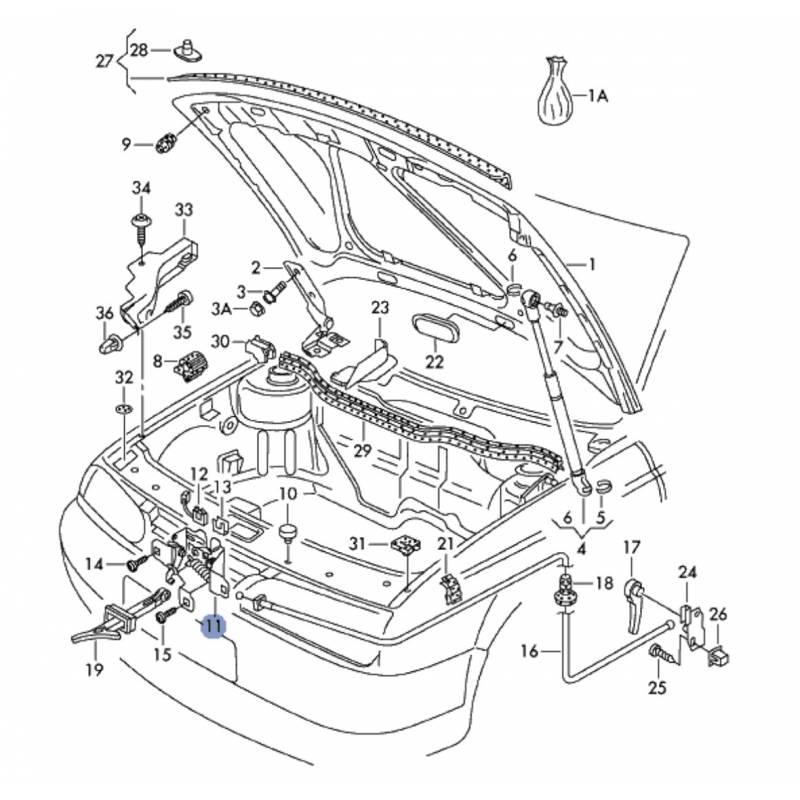 bonnet lock without contactor for vw golf 4  bora ref 1j0823509  1j0823509b  1j0823509c