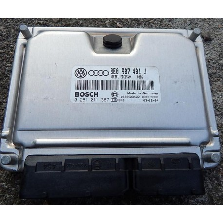 Calculateur moteur Audi A4 / A6 / VW Passat / Skoda Superb 2L5 V6 TDI 180 cv ref 8E0907401J / 8E0997401JX ref Bosch 0281011387