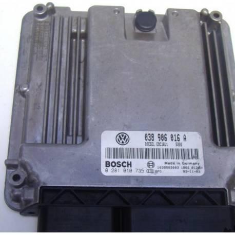 Calculador de inyección  para  VW 1L9 TDI ref 038906016A / 038906016G / 0281010735