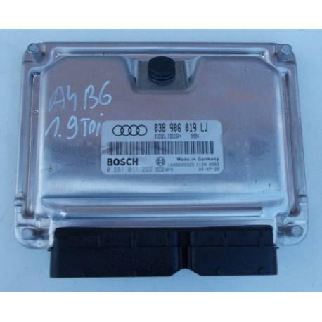 Calculateur moteur d'occasion pour Audi A4 B6 1L9 TDI avec garantie 6 mois ref 038906019LJ /  0281011222