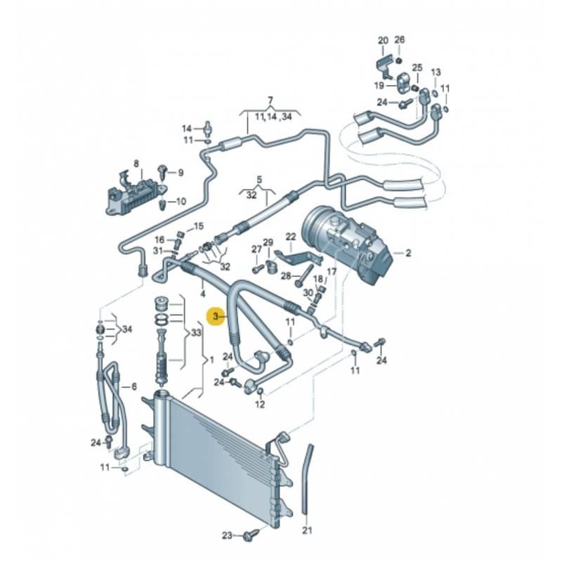 tuyau de climatisation flexible de r frig rant conduite de frigorigene ref 6q0820721ap. Black Bedroom Furniture Sets. Home Design Ideas