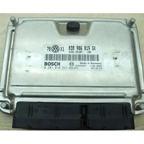 Calculateur moteur pour VW Passat / Superb 1L9 TDI 100 cv AVB ref 038906019GK / 0281010943