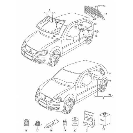 Vitre glace de porte arrière conducteur pour VW Polo 9N