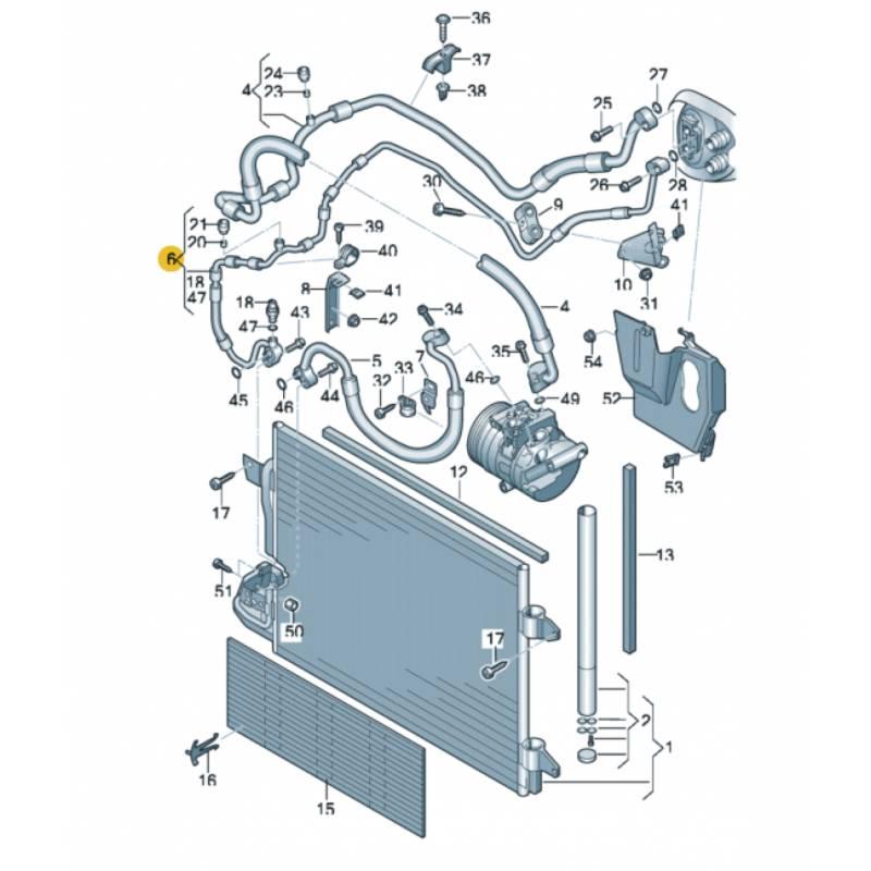 tuyau de climatisation flexible de r frig rant sans sonde ref 1k0820741ab 1k0820741ba. Black Bedroom Furniture Sets. Home Design Ideas