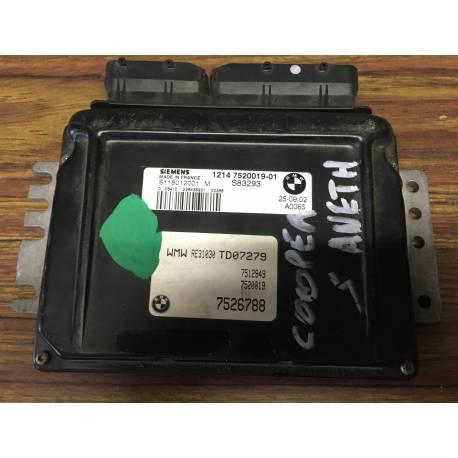 Engine control / unit ecu motor for Mini Cooper S ref 1214 7520019-01 / S83293