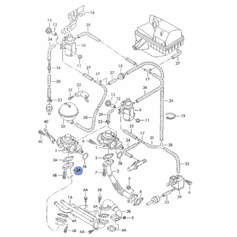 durite  tuyau de liaison pour 1l9 tdi ref 038131521f
