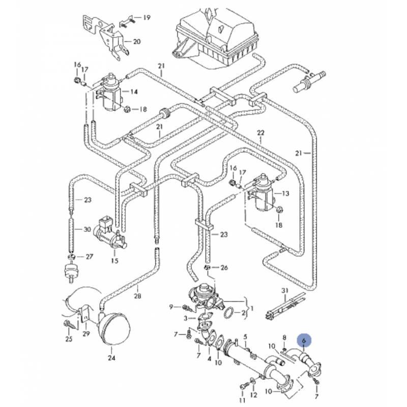 durite  tuyau de liaison pour 1l9 tdi ref 038131521ba