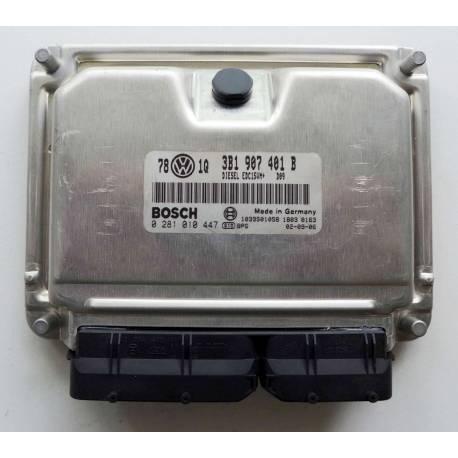 Calculateur moteur pour VW Passat 2L5 V6 TDI 150 cv moteur AKN ref 3B1907401B / Ref Bosch 0281010447 / 0 281 010 447