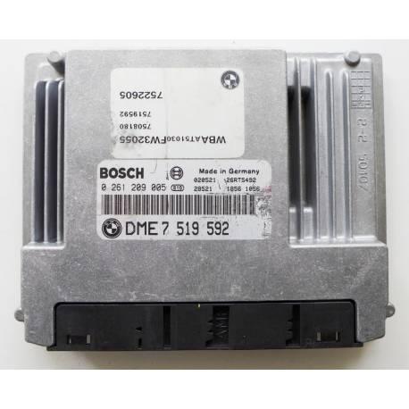 Calculateur moteur pour BMW E46 318 CI ref DME77519592 / Ref Bosch 0261209005 / 0 261 209 005