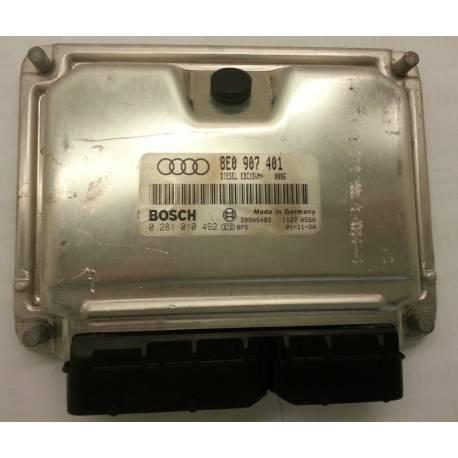 Calculateur moteur pour Audi A4 B6 2L5 V6 TDI moteur AYM ref 8E0907401 / Ref Bosch 0281010492 / 0 281 010 492