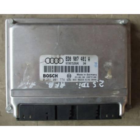 Calculateur moteur pour Audi A4 2L5 V6 TDI 150 cv AFB ref 8D0907401A / 8D0907401E / 8D0907401H Ref Bosch 0281001774