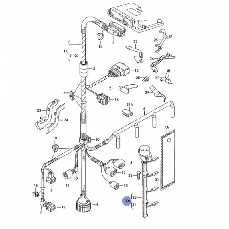 faisceau c u00e2ble adaptateur pour syst u00e8me injection  injecteur pompe pour 1l9 tdi  2l sdi ref 038971600
