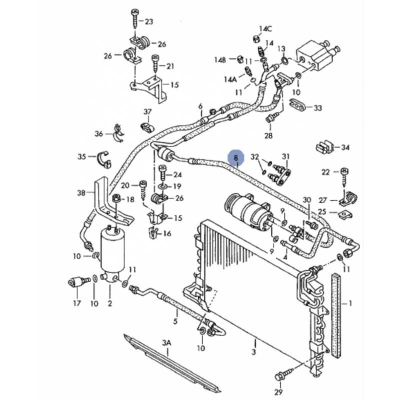 tuyau de climatisation  flexible de r u00e9frig u00e9rant pour vw golf 3  vento 2l8 vr6 ref 1h1820743q
