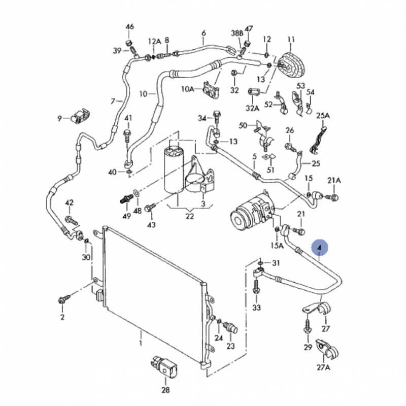 tuyau de climatisation  flexible de r u00e9frig u00e9rant pour audi a4 2l5 v6 tdi ref 8e0260701bc