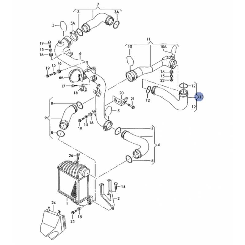 durite d u0026 39  u00e9changeur de turbo  flexible de raccord pour vw passat 1l9 tdi 130 cv moteur asz  arl