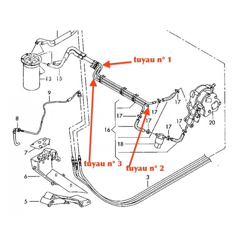 tuyau n u00b0 1 de carburant au d u00e9tail reliant le filtre  u00e0 gasoil jusque la pompe tandem 1 9 tdi