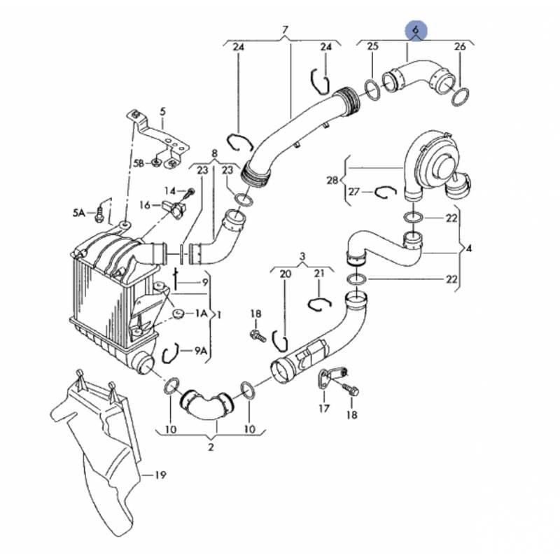 durite  flexible de pression 1l9 tdi 130 cv ref 6q0145838e