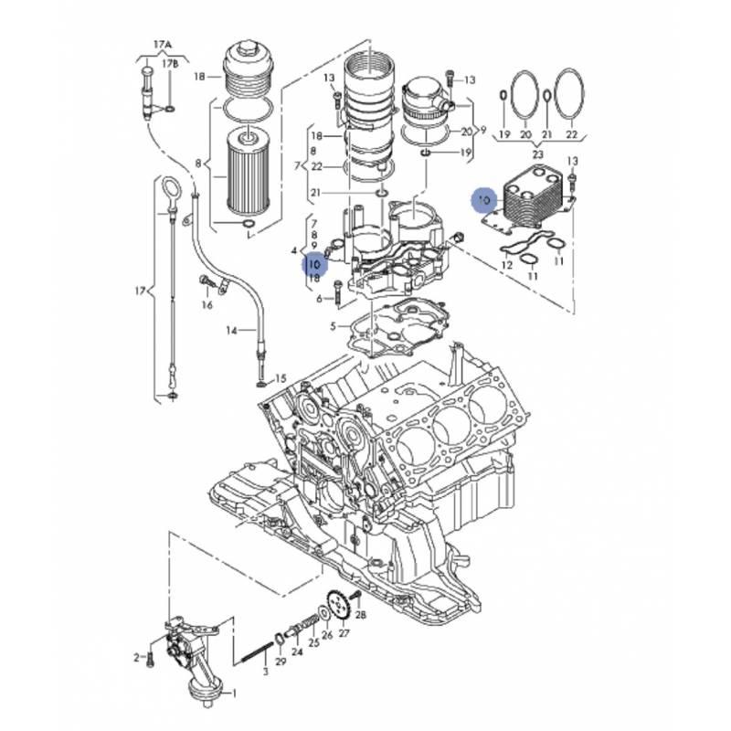 support de filtre  u00e0 huile pour audi  vw  marine motore 2l7