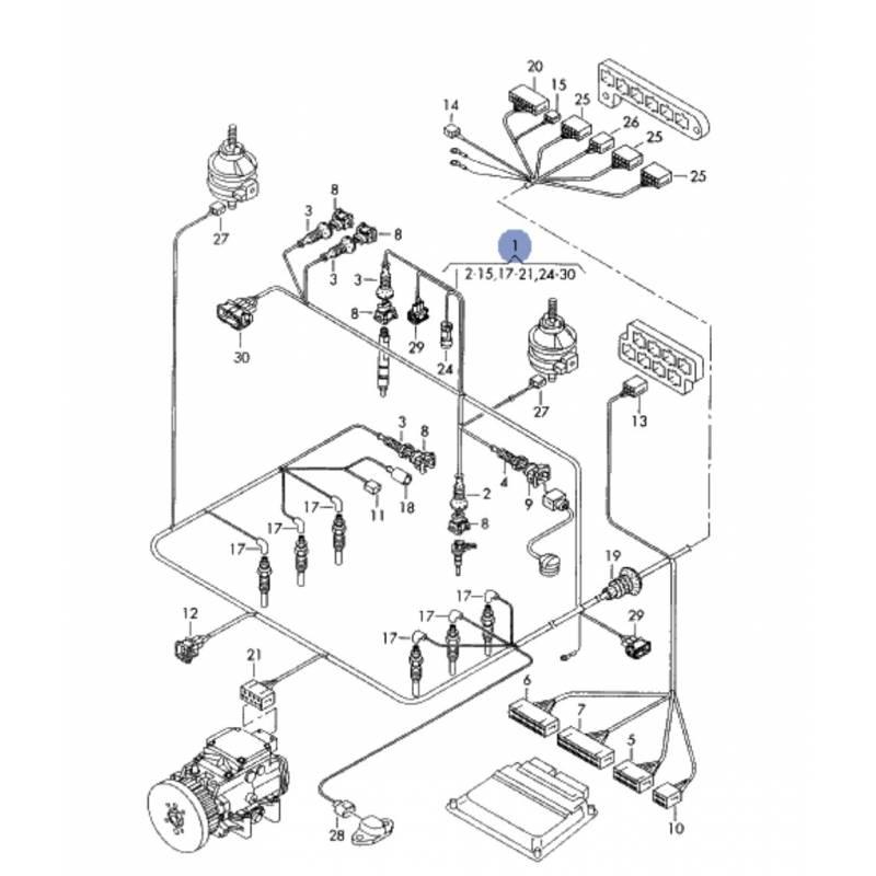 faisceau  c u00e2blage de compartiment moteur pour audi a4 2l5 v6 tdi afb 150 cv boite m u00e9canique ref
