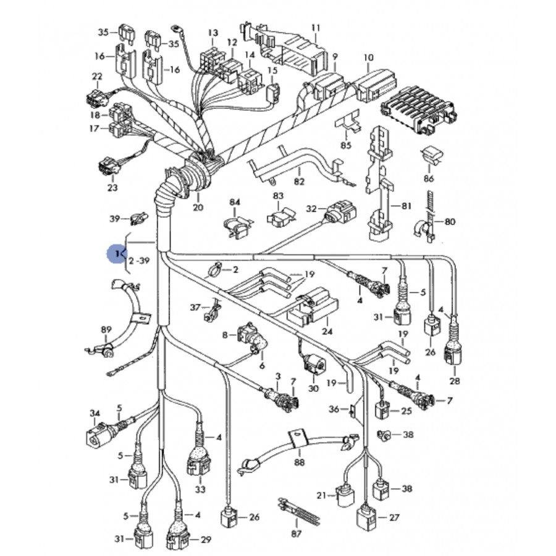 faisceau  c u00e2blage de moteur pour audi a4 b6 2l5 v6 tdi ref 8e1971072hk