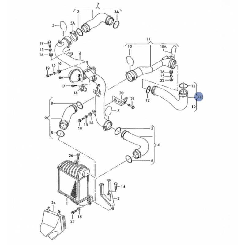 durite neuve d u0026 39  u00e9changeur de turbo  flexible de raccord pour vw passat 1l9 tdi 130 cv moteur asz