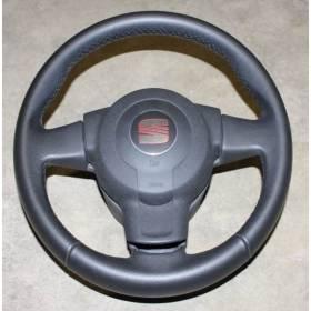 Volant cuir noir avec airbag pour Seat Leon 2 ref 5P0419091A / 5P0419091R / 1P0880201N / 1P0880201Q 1MM