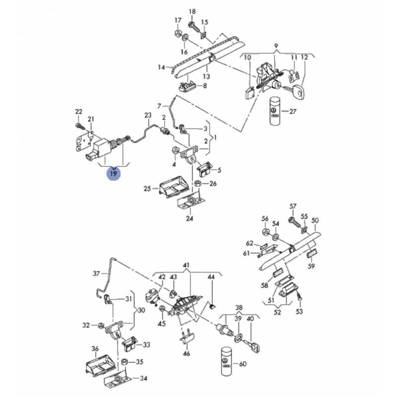 actionneur de serrure de coffre  dispositif de r u00e9glage pour audi a3  a4  a6 ref 4b9962115