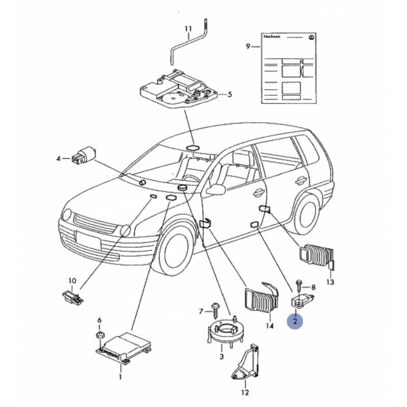 Combined Sensor Of Cross Acceleration Crashsensor For Vw Seat Ref